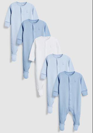 🚚 5 Sleepsuits with fold over mittens