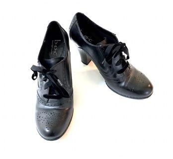 90s Brogue style black leather heels shoes dance jazz goth Killstar unif