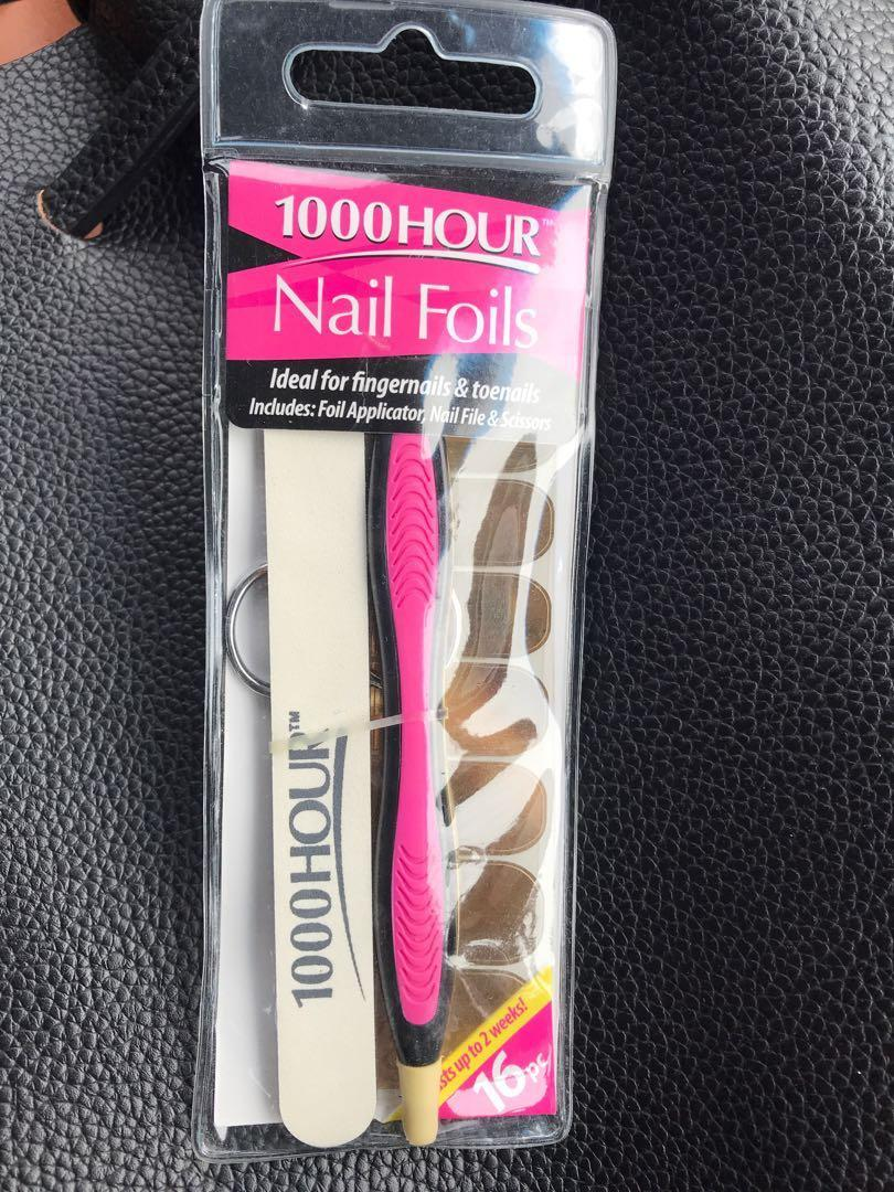 1000 hour nail foils 16pc foil applicator, nail file & Scissors