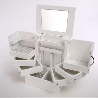 Deluxe Wood Cosmetic Accessories Mirror Organizer Drawer Box