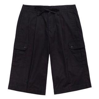Plain me 水洗棉質抽繩寬管七分褲 黑色M號 COP4001 plainme