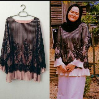 Lace Blouse with skirt -Dusty pink