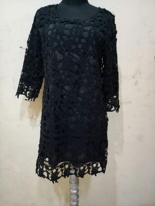 Dress Brukat Hitam