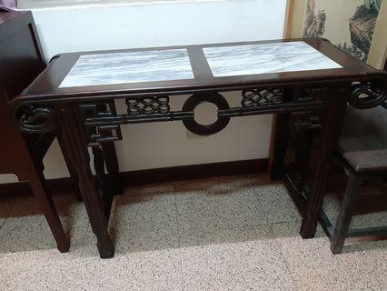 早期雲石雕刻桌子簽名桌