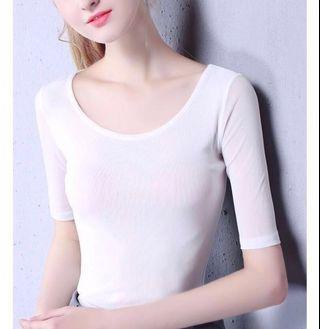 Women O-Neck Slim Soft Half Sleeve T Shirts Lady Mesh Comfortable Elastic Tops Tees Female Basic Fashion T-Shirt