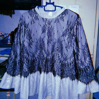 Blue stripe blouse with lace
