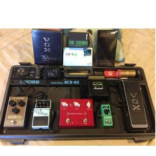 Boss, TC Electronic, Ibanez, Vox, Marshall