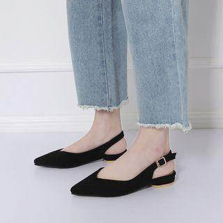 (Instock) Korean Ladies Black Pointed Toe Slip On Buckled Flats