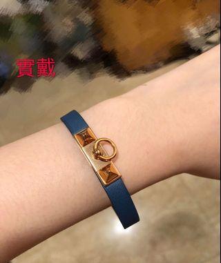 🚚 Hermès 經典Micro Revale金屬金釦小牛皮單圈手環(藍綠色-金)