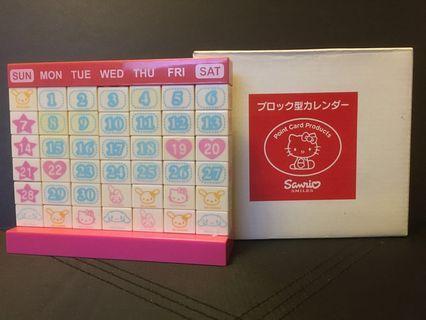 SANRIO 2004 絕版積木Calendar月曆Hello Kitty, My Melody, Cinnamoroll, Usahana