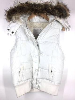 White Blue Notes Winter Vest with Hoodie