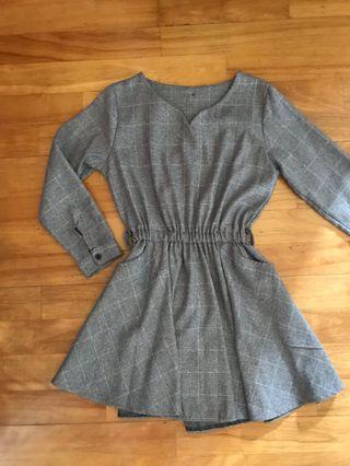 🚚 (全新)灰色格紋洋裝