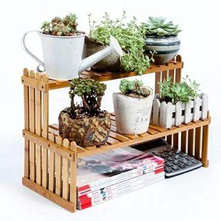 🚚 楠竹花架多肉植物小架子   辦公桌面花架  窗臺實木花架  桌上迷你置物架