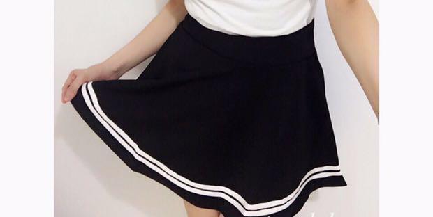 間條半身裙(橡筋頭)