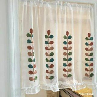 🚚 田園刺繡繡花窗紗  咖啡半簾  日式門簾棉麻