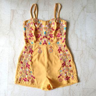 Yellow Floral Embroider Romper