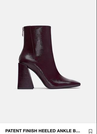 Zara Patent Finish Ankle Boots