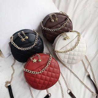 Quilted Round Chain Sling Bag