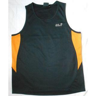 跑步衫 背心 透氣  Jack Wolfskin 運動衫 L碼 黑色拼橙色