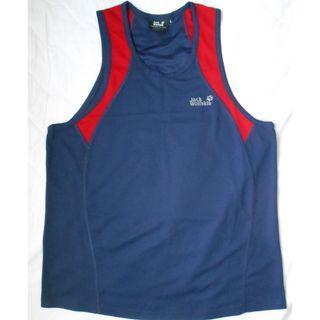 Jack Wolfskin 運動衫 透氣舒適 跑步 波衫 男裝 L碼  藍色拼紅色