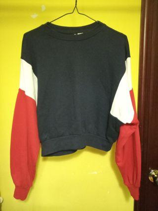 Red, White, and Blue Block Cropped Sweater