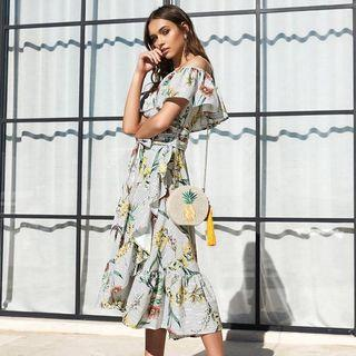 LINEAR FLORAL DRESS - PINEAPPLE
