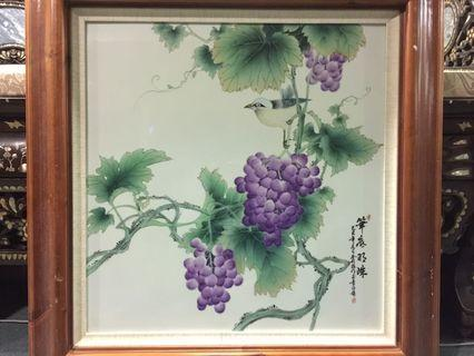 Chinese painting in porcelain ( 2 ft x 2 ft)