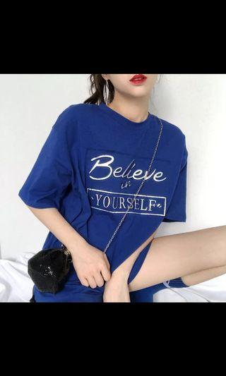 "INSTOCK: BLUE ""BELIEVE IN YOURSELF"" HOLOGRAPHIC WORDS T SHIRT"
