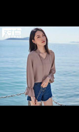 INSTOCK: CHIFFON DUSTY PINK SHEER TOP (INNER TOP PROVIDED)