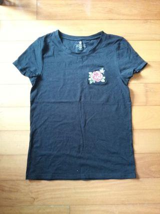 Black T-shirt with a Rose Patch