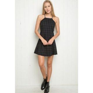 INSTOCK: BLACK GRID HALTER STRAP DRESS