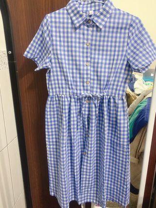 藍格子 洋裝 襯衫