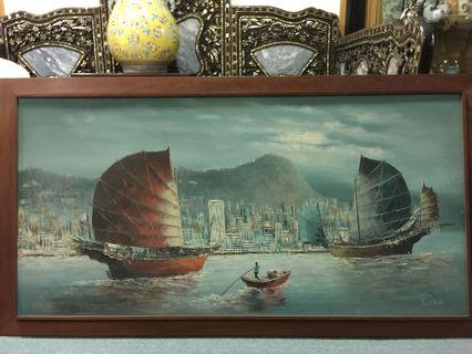 Old Oil painting ( Hong Kong 4ft x 2 ft )