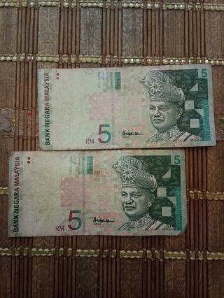 Duit Lama RM5 tandatangan Aisyah