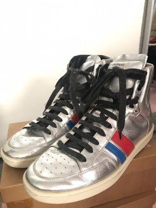 Saint Laurent men silver leather sneakers shoes 39.5