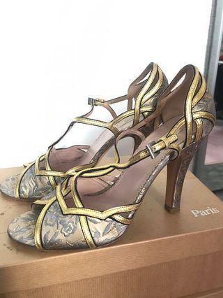 Prada golden brocade peep toes heels shoes 38