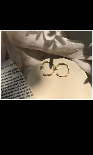 啞光金圈圈耳環