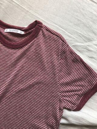 bnwt pull and bear pink ringer striped tee