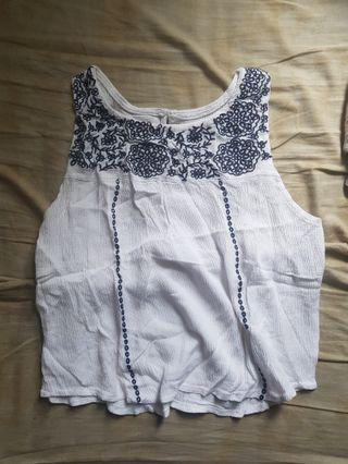 white summer embroidered top