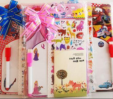🚚 Goodie bag, goody bag, whiteboard, notebook for kids, stickers