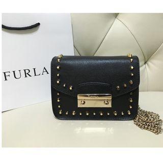 全新 Furla Julia Mini Studded Leather Crossbody Bag (Black)
