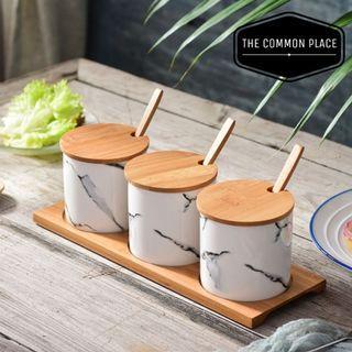 INSTOCK 3pc Scandinavian White Marble Print Condiment Jar Kitchen Set