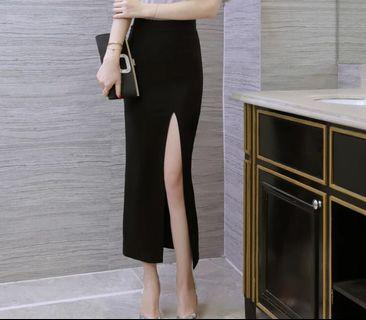 Black Slit Skirt