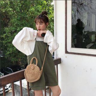 ✿預購款✿ 夏季韓版寬鬆吊帶褲 (黑/綠)