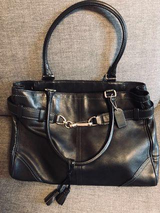Coach Black Genuine Leather Handbag