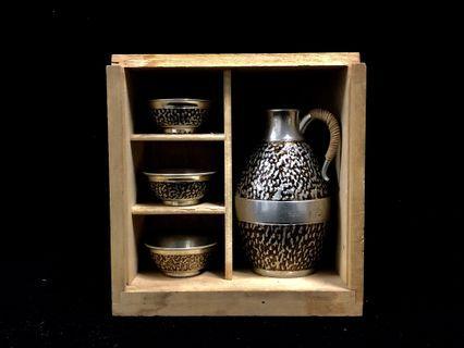 早期購入 日本古董品 真品大阪錫器 錫制酒器 四件套套裝 清酒燒酒酒器 平賣結緣