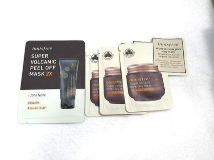 Innisfree Super Volcanic peep off mask 4ml & pore clay mask 3pcs 4ml