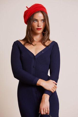 LEAVING KNIT MINI DRESS - NAVY