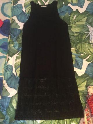 Black dress combain laces ZARA