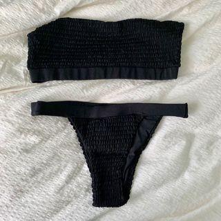 black strapless bikini